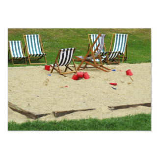 Deck Chairs on a Sand Pit Invitation