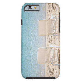 Deck chairs on sandy beach tough iPhone 6 case