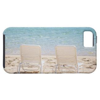 Deck chairs on sandy beach iPhone 5 case