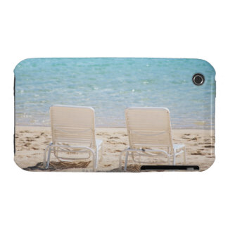 Deck chairs on sandy beach Case-Mate iPhone 3 cases