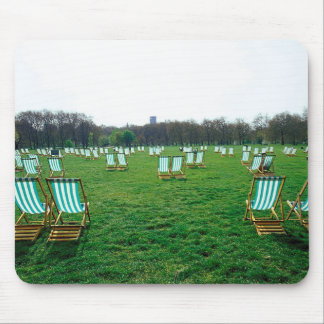 Deck Chairs Spread Out In Green Park, London Mouse Pad