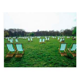 Deck Chairs Spread Out In Green Park, London Postcard
