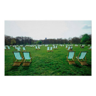 Deck Chairs Spread Out In Green Park, London Poster