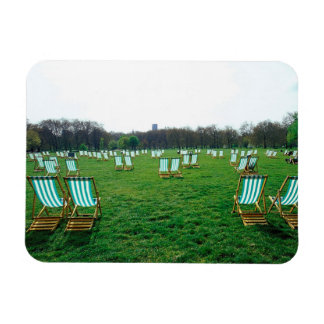 Deck Chairs Spread Out In Green Park, London Rectangular Photo Magnet