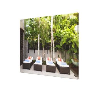 Deck Chairs Tropical House Canvas Print