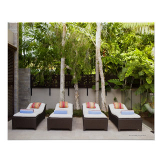 Deck Chairs Tropical House Poster