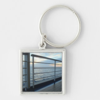 Deck Level View Keychain Silver-Colored Square Keychain