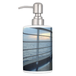 Deck Level View Soap Dispenser And Toothbrush Holder