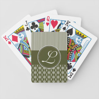 Deck of Cards, Custom Monogram Olive Green Pattern