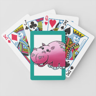 Deck of Cards, Cute Female Hippo Cartoon Bicycle Playing Cards