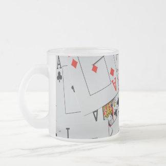 Deck_Of_Cards, _Frosted_Glass_Beer_Mug. Taza De Cristal