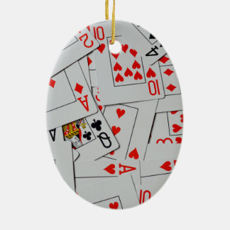 Deck Of Scatter Playing Cards Pattern, Ceramic Ornament