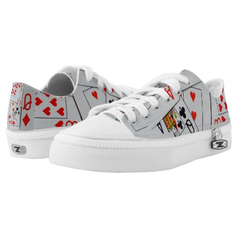 Deck Of Scattered Playing Cards, Low-Top Sneakers