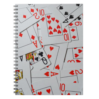Deck Of Scattered Playing Cards Pattern, Notebook