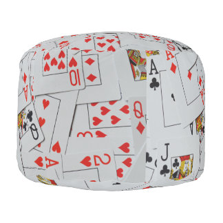 Deck Of Scattered Playing Cards Pattern, Pouf
