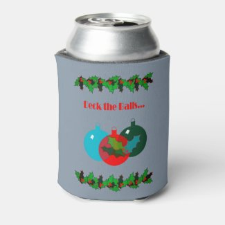 Deck the Balls Christmas Can Cooler