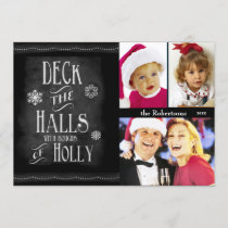 Deck the Halls Chalkboard Photo Christmas Holiday Card