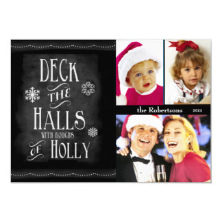 Deck the Halls Chalkboard Photo Christmas Personalized Invite