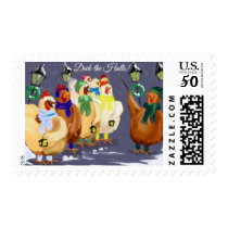 Deck The Halls Chickens Christmas Holidays Stamp Postage