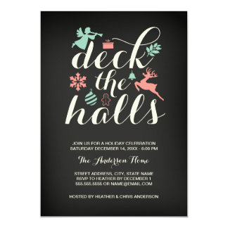 Deck The Halls Christmas Holiday Invitation