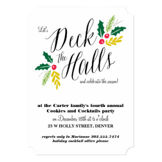 Deck the Halls Christmas Party Invitation
