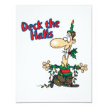 deck the halls funny christmas cartoon 4.25x5.5 paper invitation card