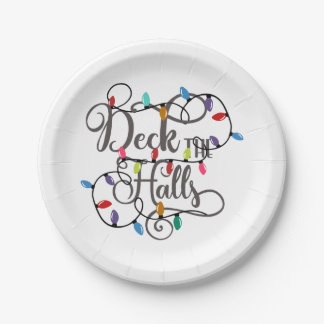 deck the halls holiday lights Christmas Paper Plate