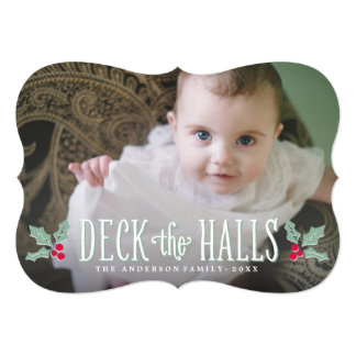 Deck the Halls   Holiday Photo Card Custom Announcements