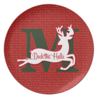 Deck the Halls in Red and Green Reindeer Dinner Plate