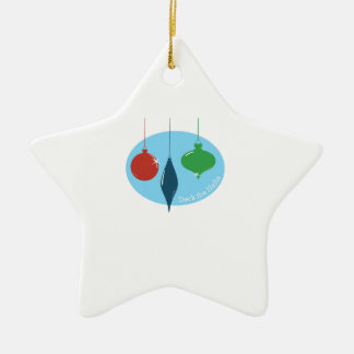 Deck The Halls Double-Sided Star Ceramic Christmas Ornament