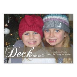 Deck the Halls Ribbon Photo Card Invitation