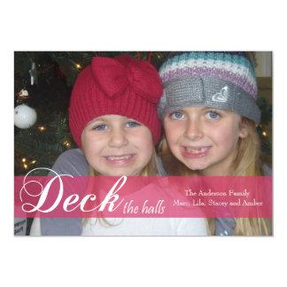 Deck the Halls Ribbon Photo Card Custom Invitation