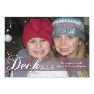 Deck the Halls Ribbon Photo Card Custom Announcements