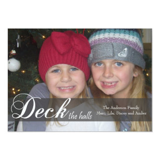 Deck the Halls Ribbon Photo Card Personalized Announcement