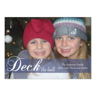 Deck the Halls Ribbon Photo Card Announcement