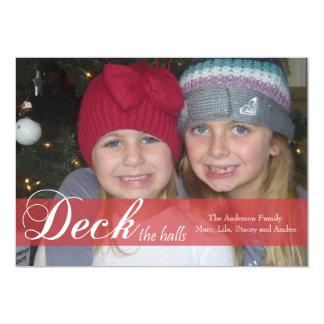 Deck the Halls Ribbon Photo Card Custom Invite