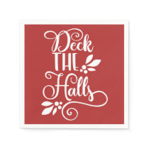 deck the halls Typography Holidays Napkin