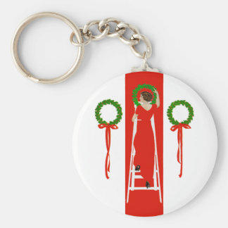 Deck the Halls with Boughs of Holly Basic Round Button Keychain