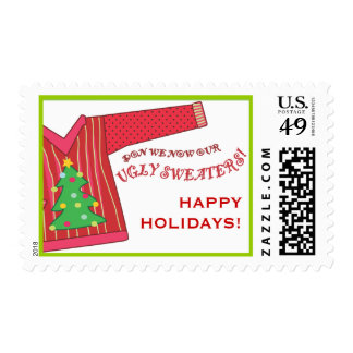 Deck the Halls with Ugly Sweaters Happy Holidays! Postage