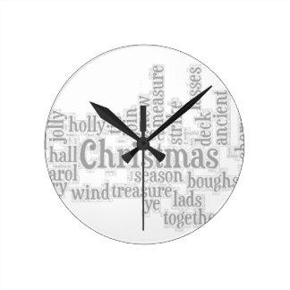 Deck the Halls Word Art5 Round Clock