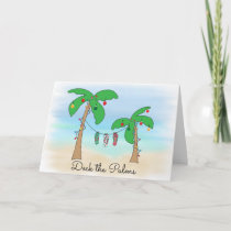 Deck the Palms Tropical Beach Christmas Holiday Card