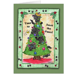 Deck the Paws -Cats in Christmas Tree Card