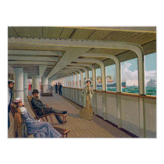 Deck View of the Patricia, Hamburg-America Line Poster
