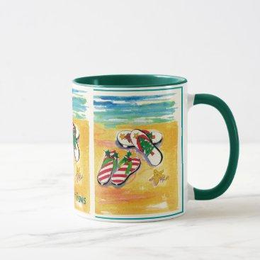 Beach Themed deck-your-paws holiday mug