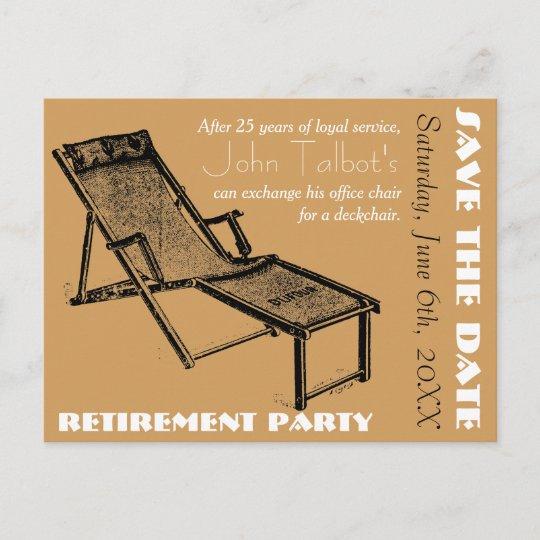 deckchair retirement party save the date postcard zazzle com