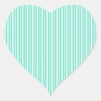 Deckchair Stripes in Tiffany Aqua Blue Heart Sticker