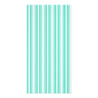 Deckchair Stripes in Tiffany Aqua Blue Custom Photo Card
