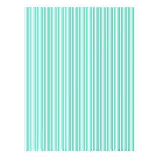 Deckchair Stripes in Tiffany Aqua Blue Postcard