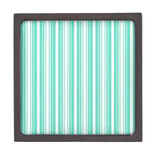 Deckchair Stripes in Tiffany Aqua Blue Premium Trinket Box