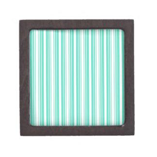 Deckchair Stripes in Tiffany Aqua Blue Premium Trinket Boxes